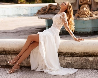 long sleeve wedding dress boho | BONITA
