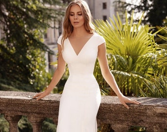 v neck line simple  wedding dress elegant fitted gown | JENNY