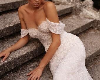 Fitted wedding dress off the shoulder sleeves, fit and flare gown |  OLIVIA