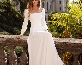 minimalist modest simple  crepe wedding dress with sleeves | BELLA