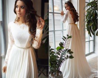 Lightweight Long Sleeve Open Back Wedding Dresses