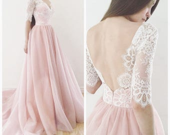 Blush Pink Wedding Dresses with Sleeves