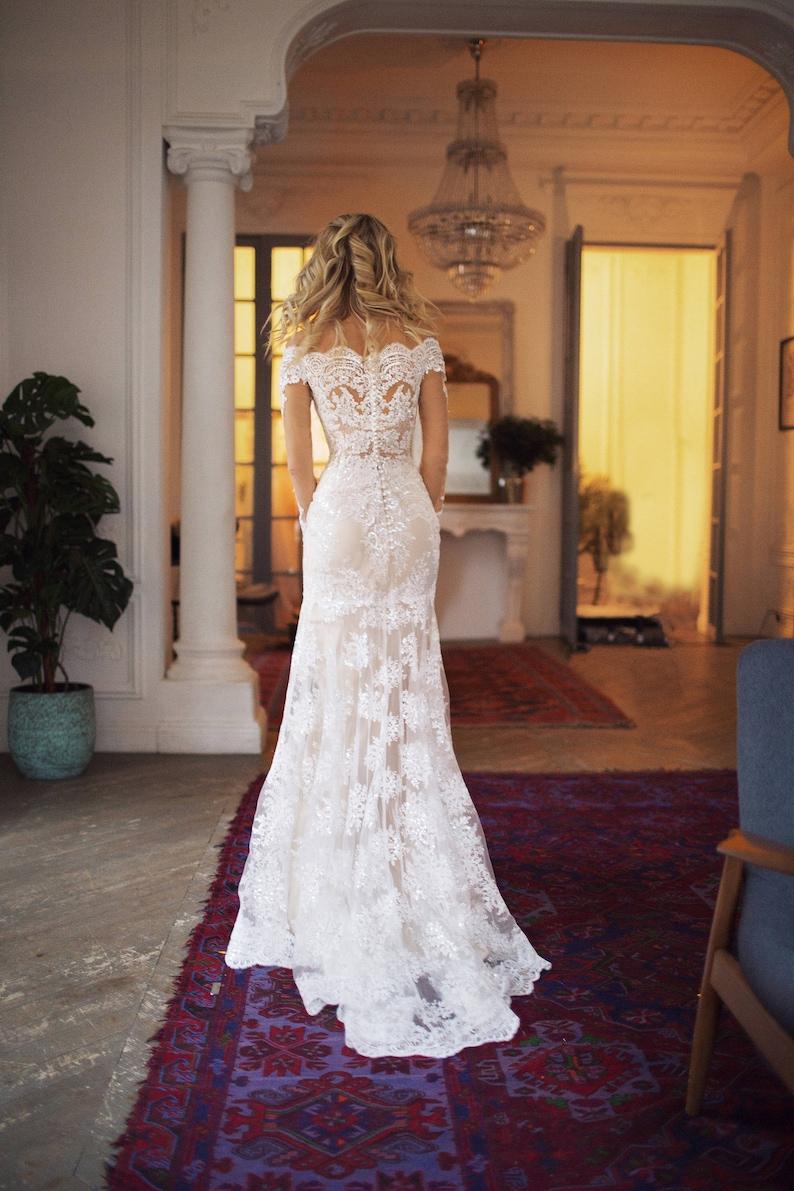 detachable train wedding dress Nektaria off the shoulder long image 3