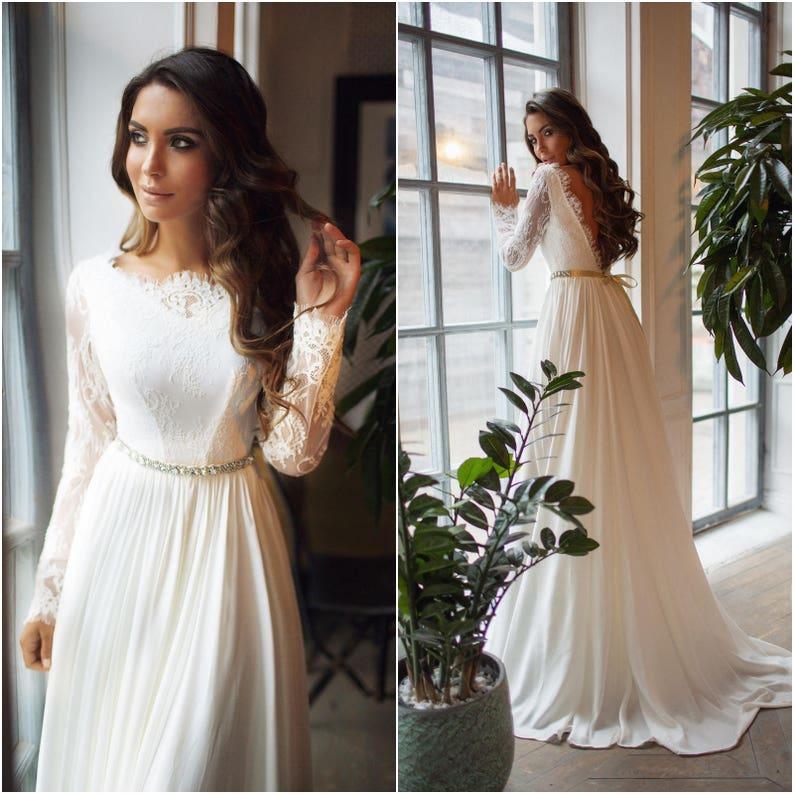 8775166511d Long sleeve wedding dress Ariel lace open back