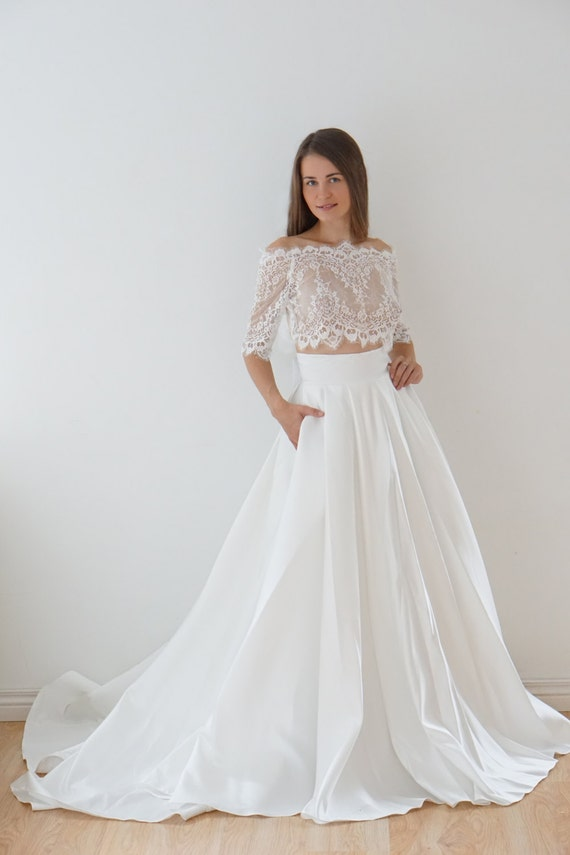 Crop Top Wedding Dress Satin Wedding Dress Lace Top Lace Etsy