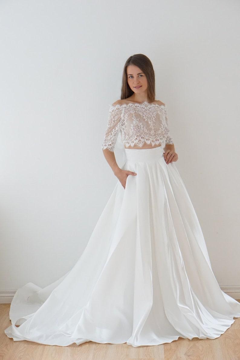 b901869d968192 Crop Top wedding dress satin wedding dress lace top lace