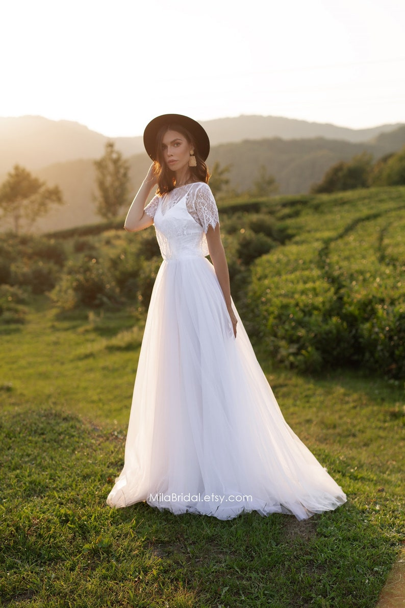 ASOL beach wedding dress lace and tulle lace short sleeves image 5