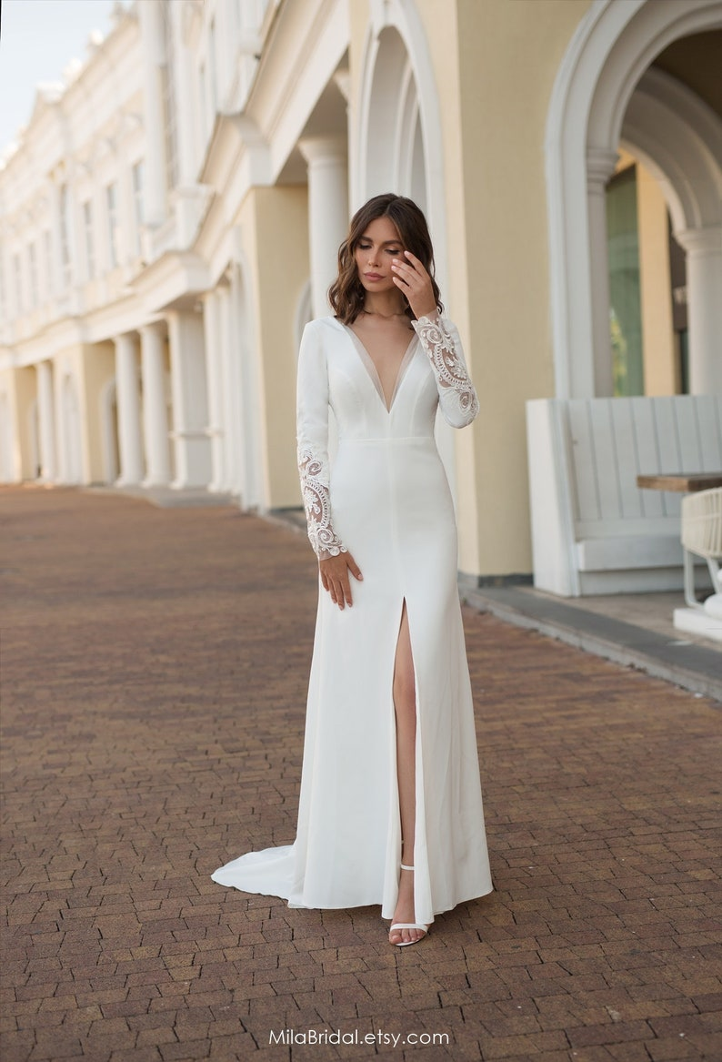 wedding dress Alisia a line wedding dress sleeves wedding image 1