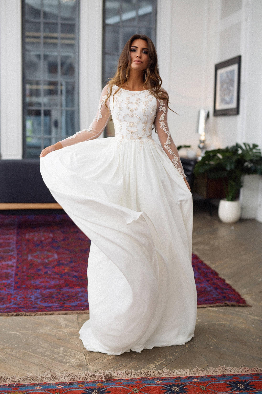 Fully Covered Wedding Dress Alexa Long Sleeves Wedding Etsy
