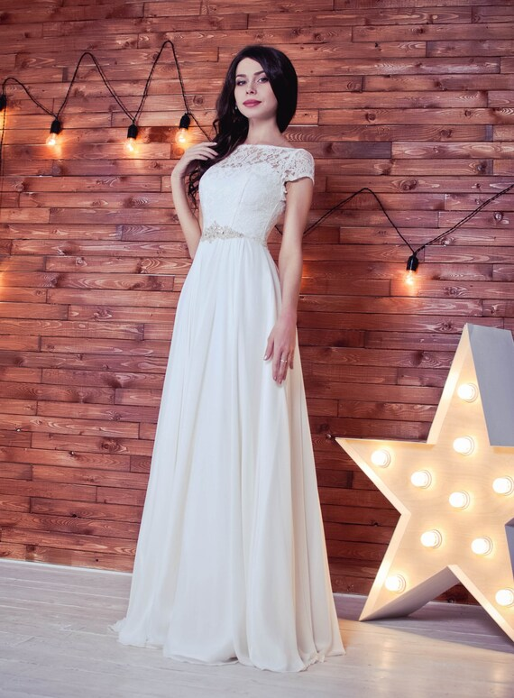 Empire Waist Wedding dress chiffon wedding dress Greece | Etsy