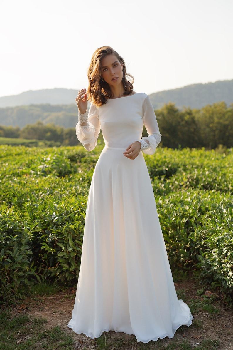 Chiffon wedding dress ANASTEISHA long sleeves simple wedding image 2