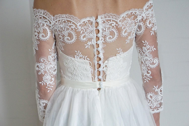 Wedding Dress Leslie Sleeve Wedding Dress Open Shoulders