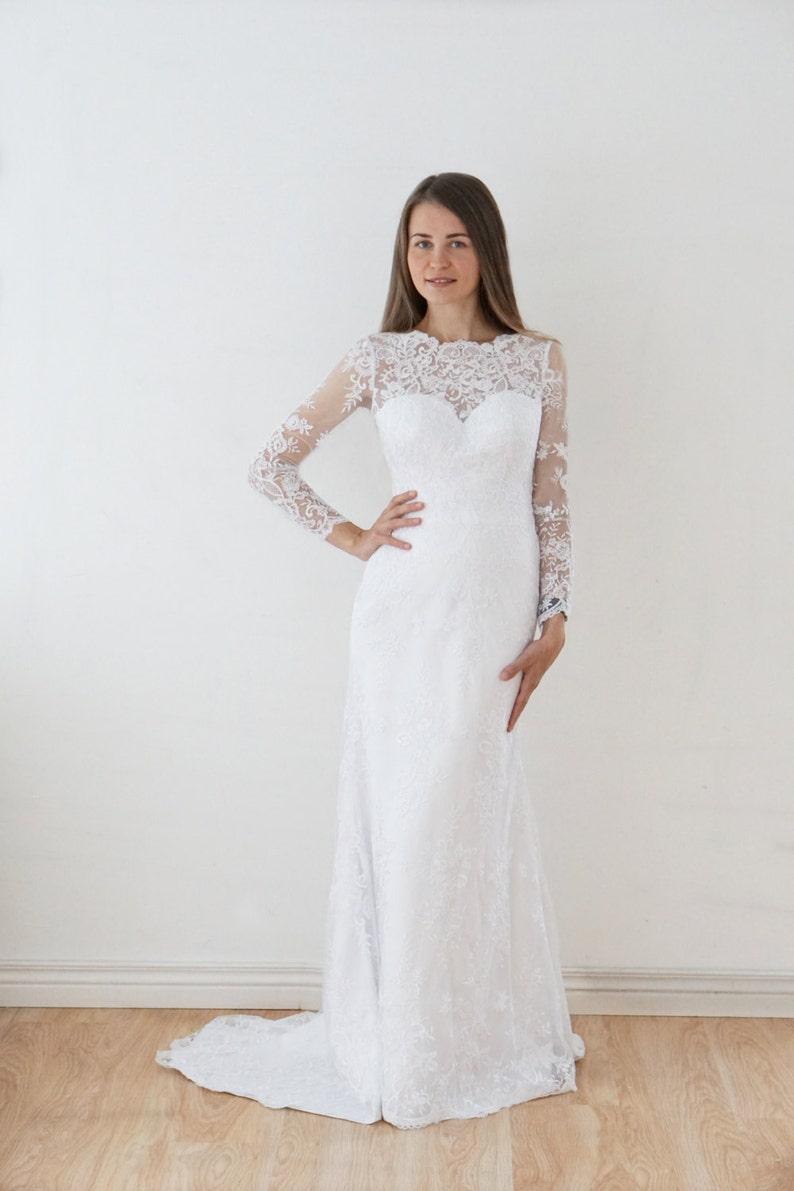 Bardzo dobra Suknia ślubna syrena sukni ślubnej Samanta długie rękawy | Etsy BA74