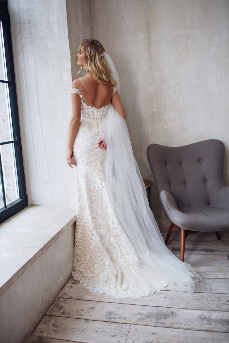Lace wedding dress boho tight fit mermaid bridal gown JATON image 7