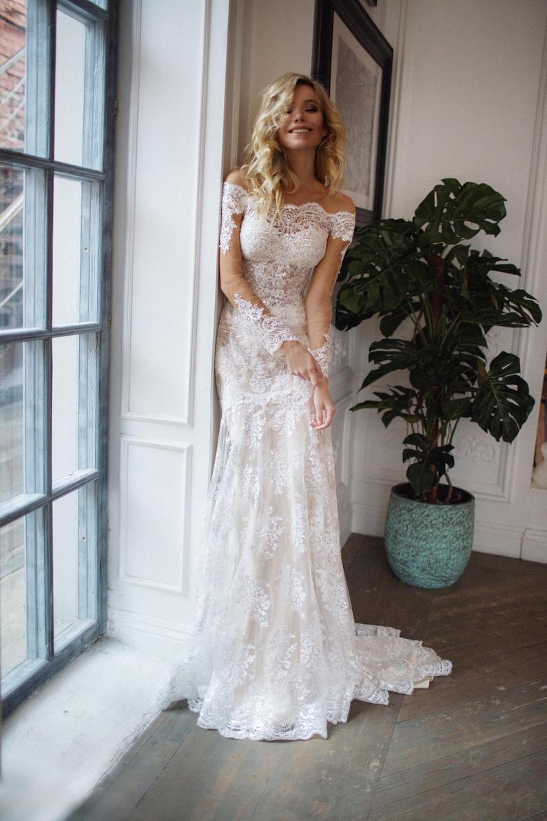 detachable train wedding dress Nektaria off the shoulder long image 1