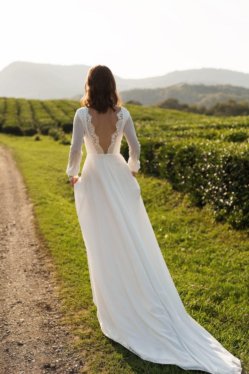 Chiffon wedding dress ANASTEISHA long sleeves simple wedding image 4