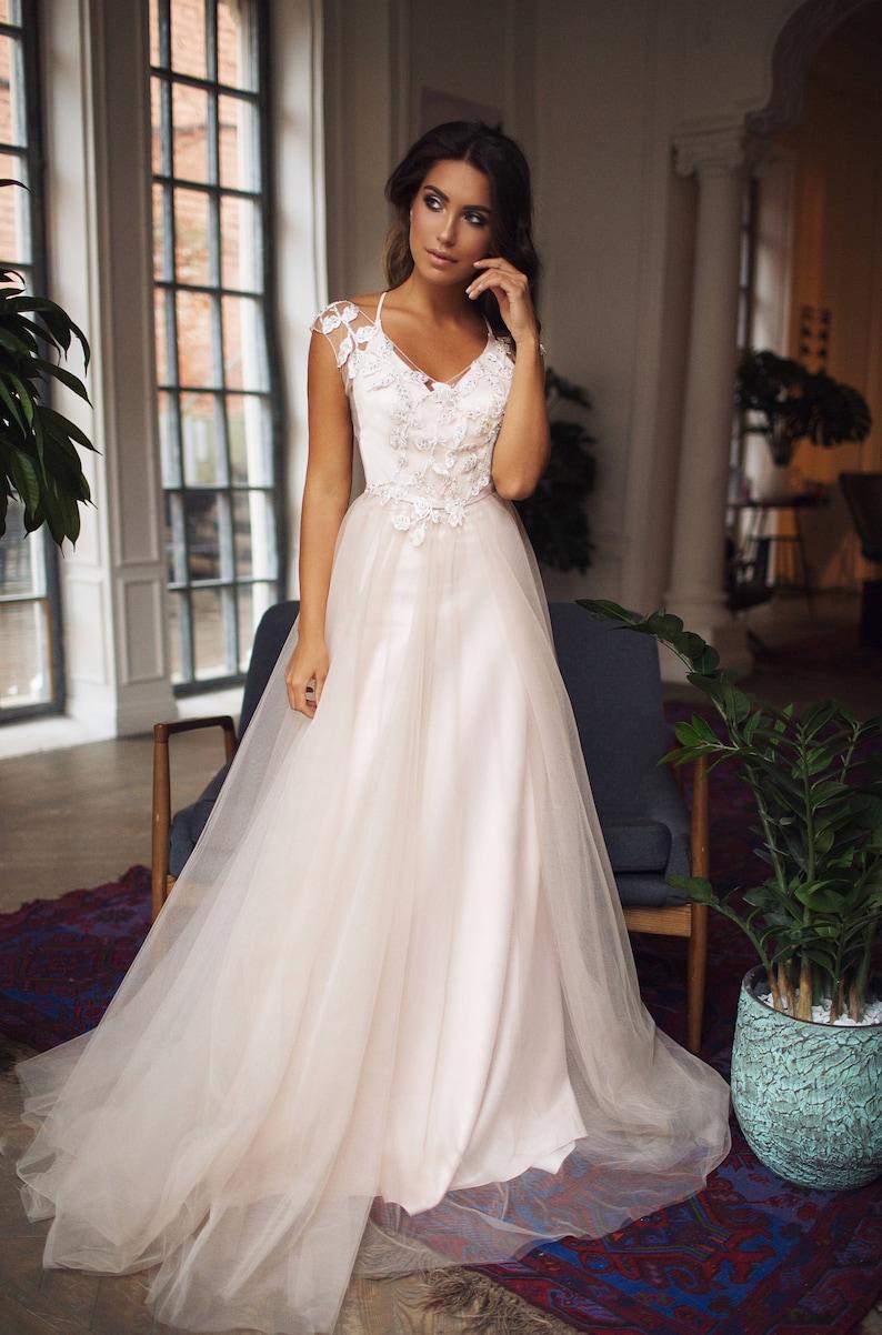 Country wedding dress Marlis boho light blush wedding dress image 2