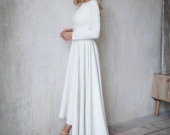 Simple Wedding Dress Dalarna, crepe minimalist dress,  High Low skirt Wedding dress