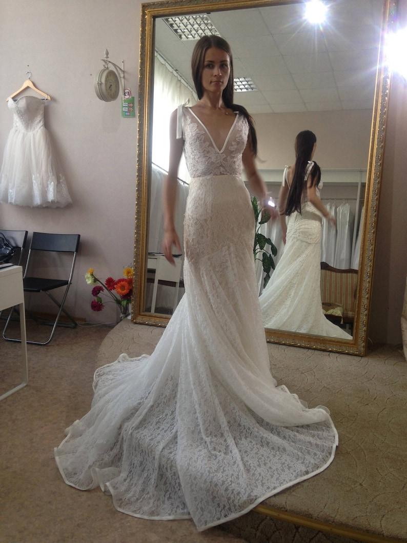 e4bd2616a5b882 Lace wedding dress Inbal mermaid wedding dress open back | Etsy