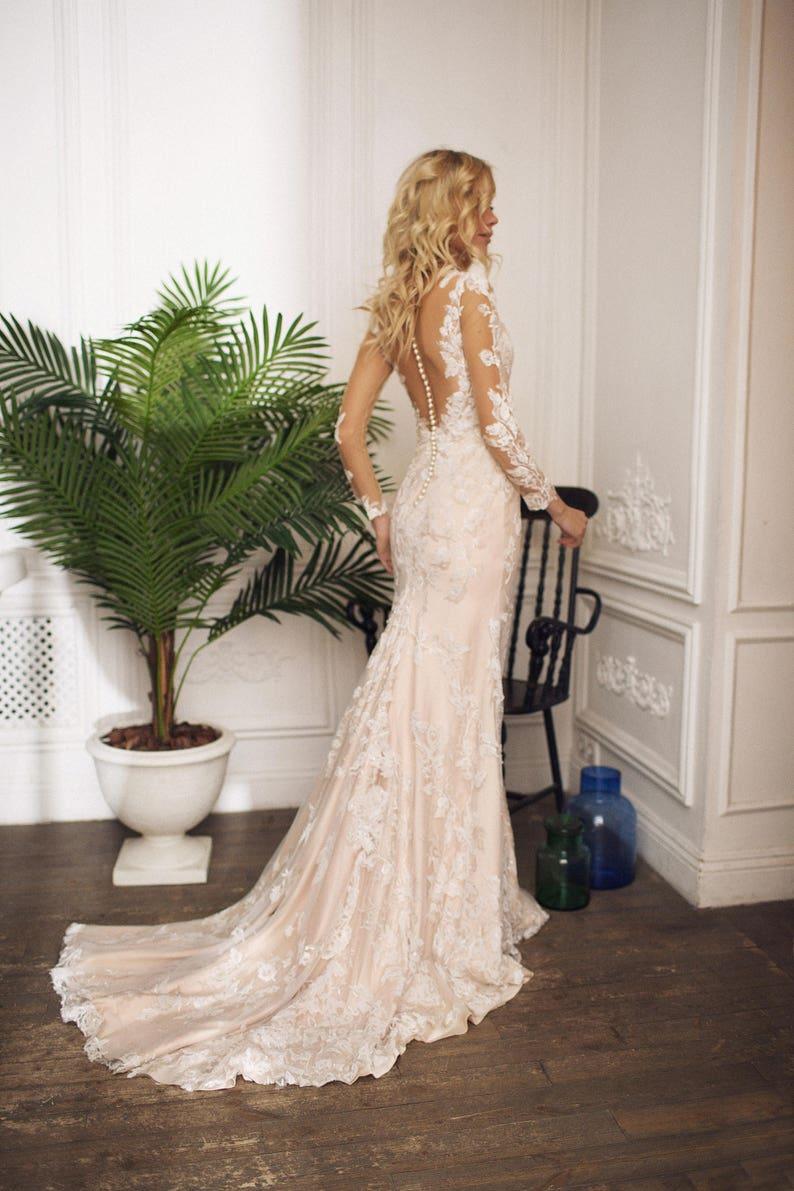 Lace wedding dress Drafne low back wedding dress illusion image 3