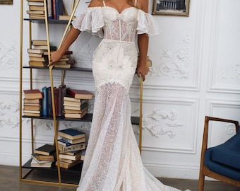 bohemian wedding dress  , mermaid wedding dress SEVILLE , off the shoulder straps