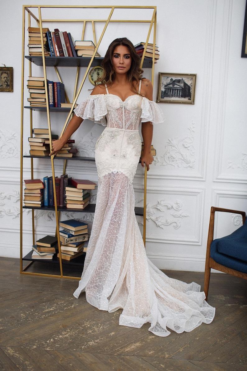 Bohemian Wedding Dress Mermaid Wedding Dress Seville Off Etsy