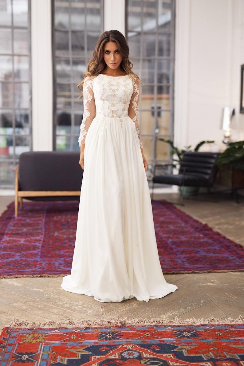 fully covered  wedding dress Alexa  Long sleeves wedding image 1