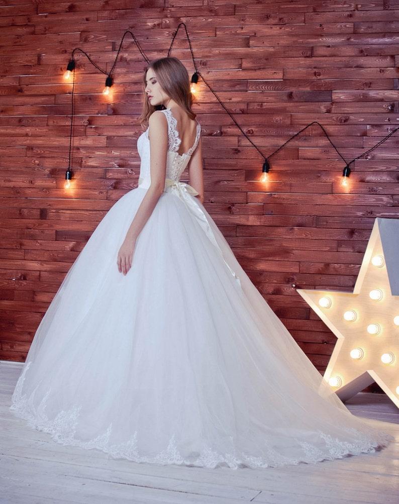 8ae4b0f9ca9b Straps wedding dress lace wedding dress wedding gown V neck   Etsy