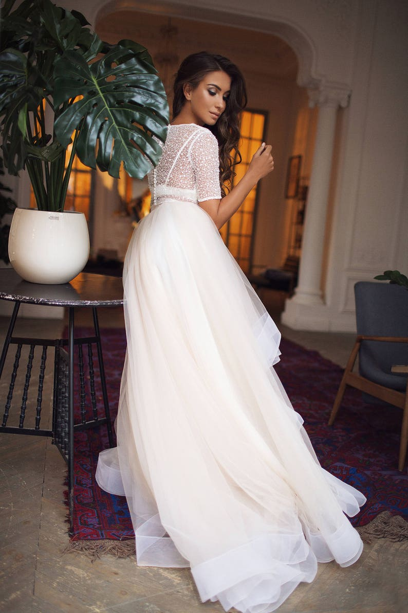 Tulle skirt  wedding dress with horsehair trim bridal image 2