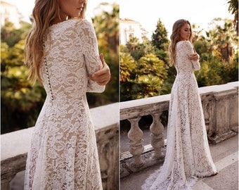 Lace wedding dress with sleeves simple boho | ORLA modest  gown