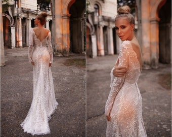 Backless wedding dress long sleeve sheath form fitting gown  | ANDREATTA