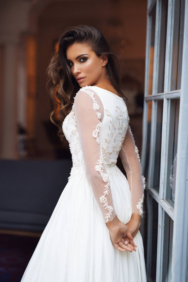 fully covered  wedding dress Alexa  Long sleeves wedding image 3