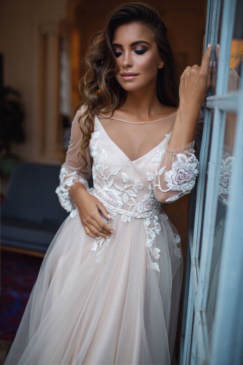 Wedding Dress With Sleeves.Bohemian Wedding Dress Long Sleeve Tara Open Back Wedding Dress Bell Sleeves Floral Wedding Dress 3d Flowers
