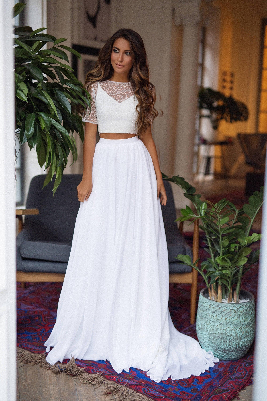 2 Two Piece Wedding Dress Bohemian Bridal Separates Chiffon Etsy
