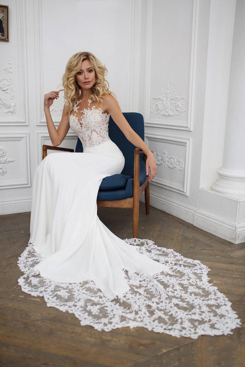 Wedding Dresses Mermaid.Mermaid Wedding Dress Illusion Back Wedding Dress Kalipso