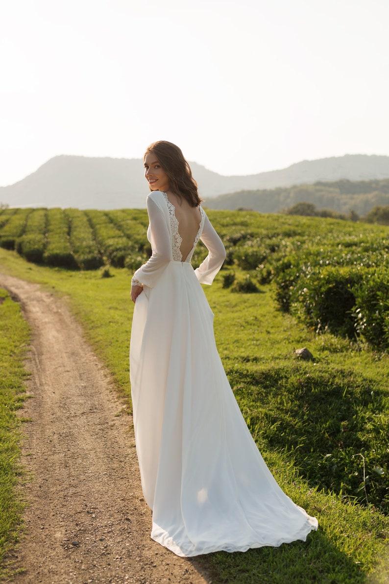 Chiffon wedding dress ANASTEISHA long sleeves simple wedding image 1