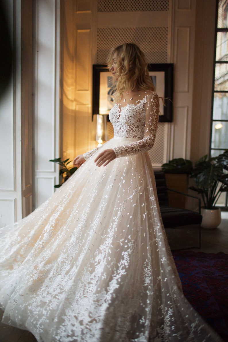 Muse wedding with long sleeves low back A line wedding image 4