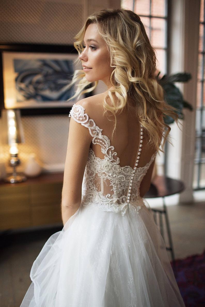 50e3babf06d Bohemian wedding dress Donatella off shoulder