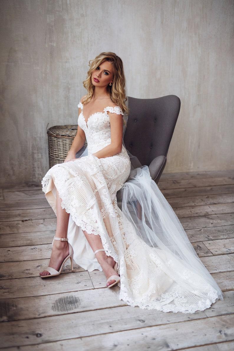 Lace wedding dress boho tight fit mermaid bridal gown JATON image 0
