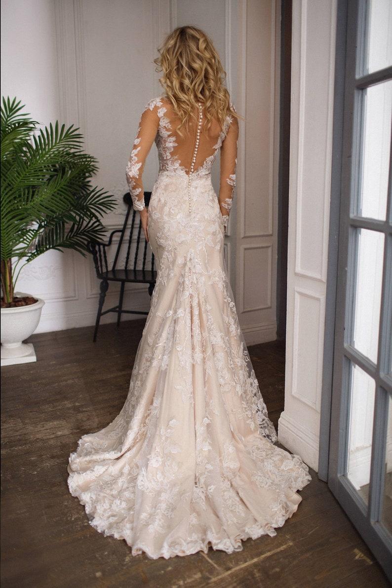 Lace wedding dress Drafne low back wedding dress illusion image 1