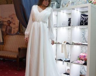 Bohemian wedding dress, chiffon wedding dress,   Empire Waist  Wedding dress