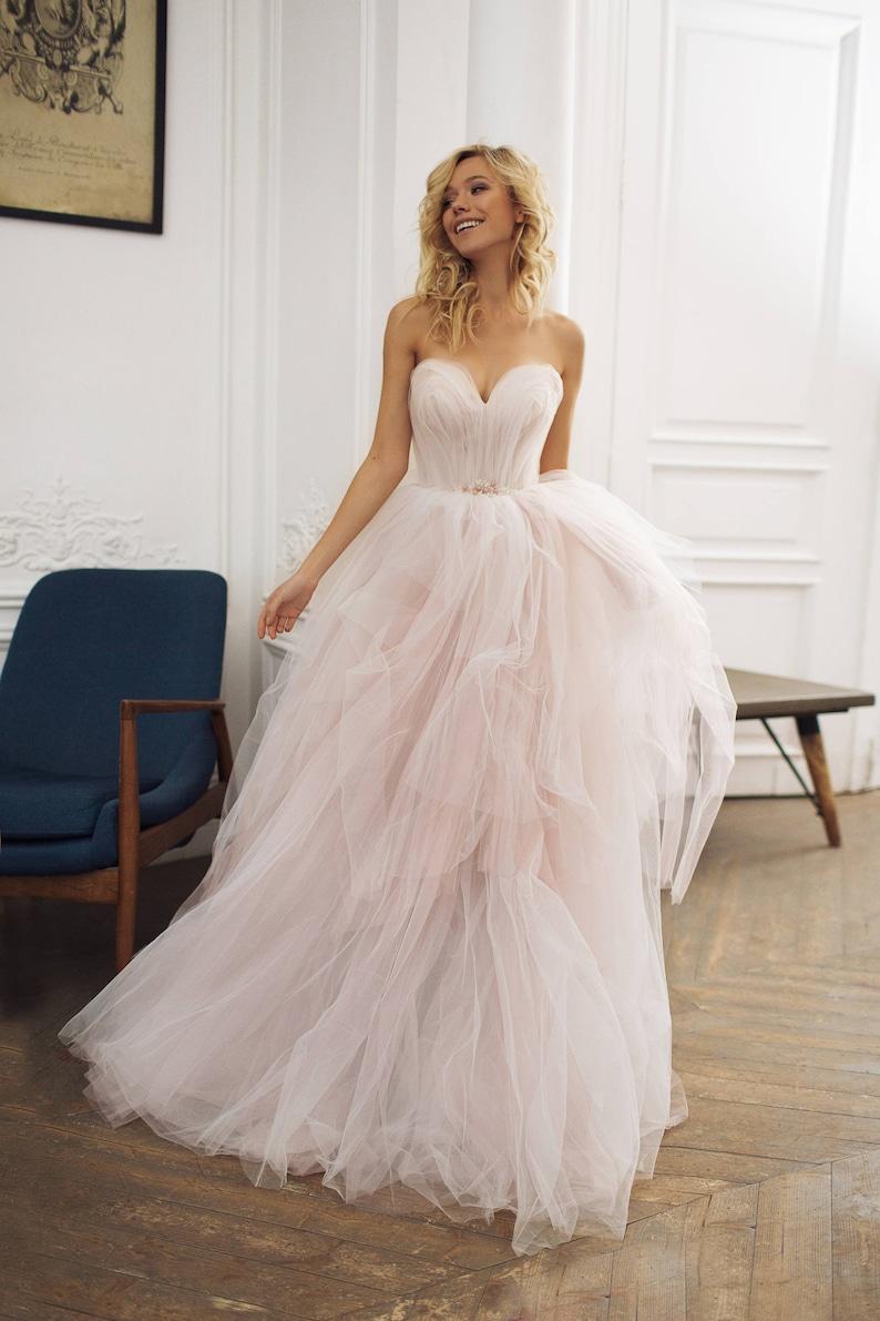 Tulle wedding dress '' Augusta'' Strapless image 0
