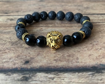ec75f2daf2 8mm Lava rock Bracelet gold lion head men s bracelet black lava bracelet  volcanic lava gemstone lion head bracelet