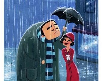Gentleman in the rain print