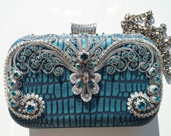 Turquois hand bag,hand embroidered clutch,small bag,elegant accessory,clitch with swarovski elements,hand bag