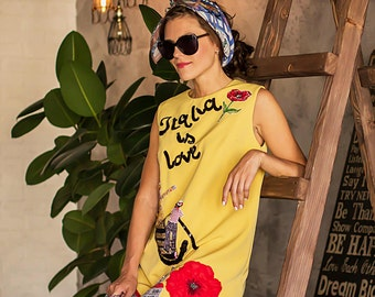 Embroidered yellow sundress, sundress with hand embroidey, sundress for fashionable woman, casual summer dress,yellow dress with red flowers