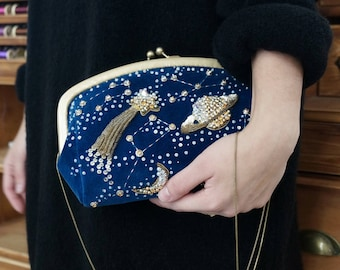 Cosmic clutch,embroidered handbag,space hand bag,small bag,hand made,space clutch,hand bag,blue clutch,goldwork