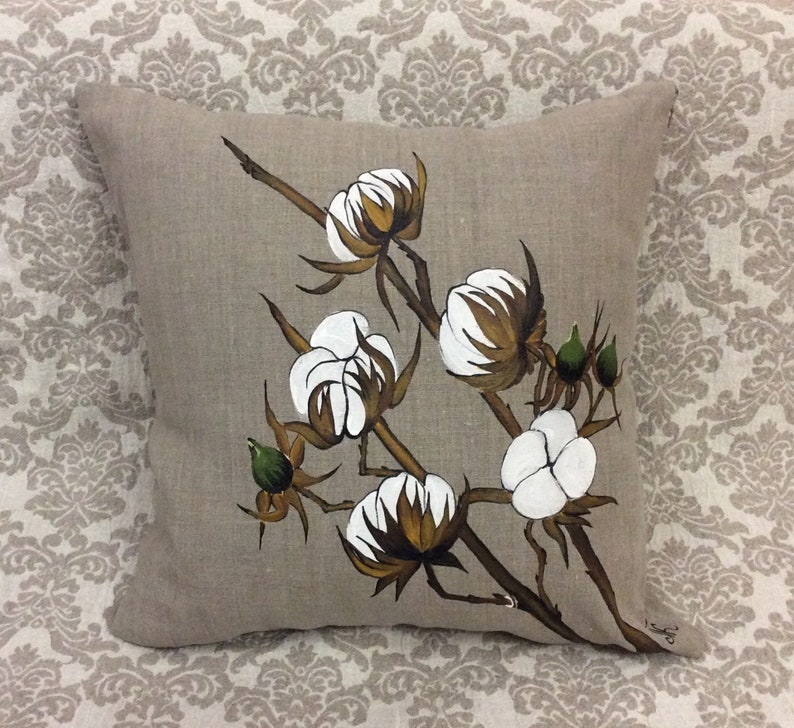 Hand-painted Cotton Boll Pillow Cover Farm Style Decor Rustic  Entryway WeddingBride Cottage Indoor Outdoor Burlap gifts for grandmothers