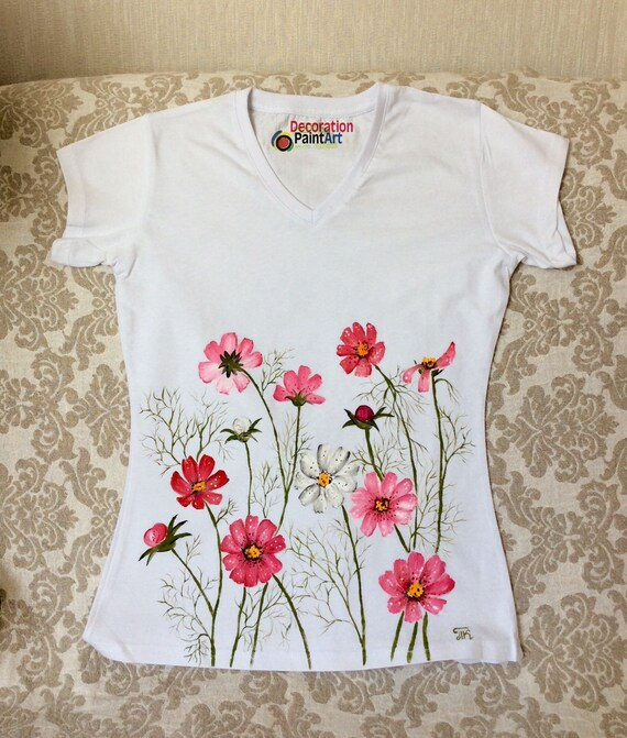 Hand painted blouse tunic cashmere wool XXL shirt gift for her floral painted tunic painted flower  handmade handpainted skirt
