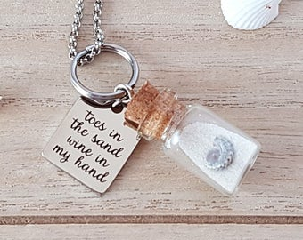 """Stainless steel necklace bottle """"toes in the wine in my hand sand"""" with sand and shell"""